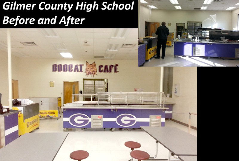 Gilmer County High School, Cafeteria Before and After Picture