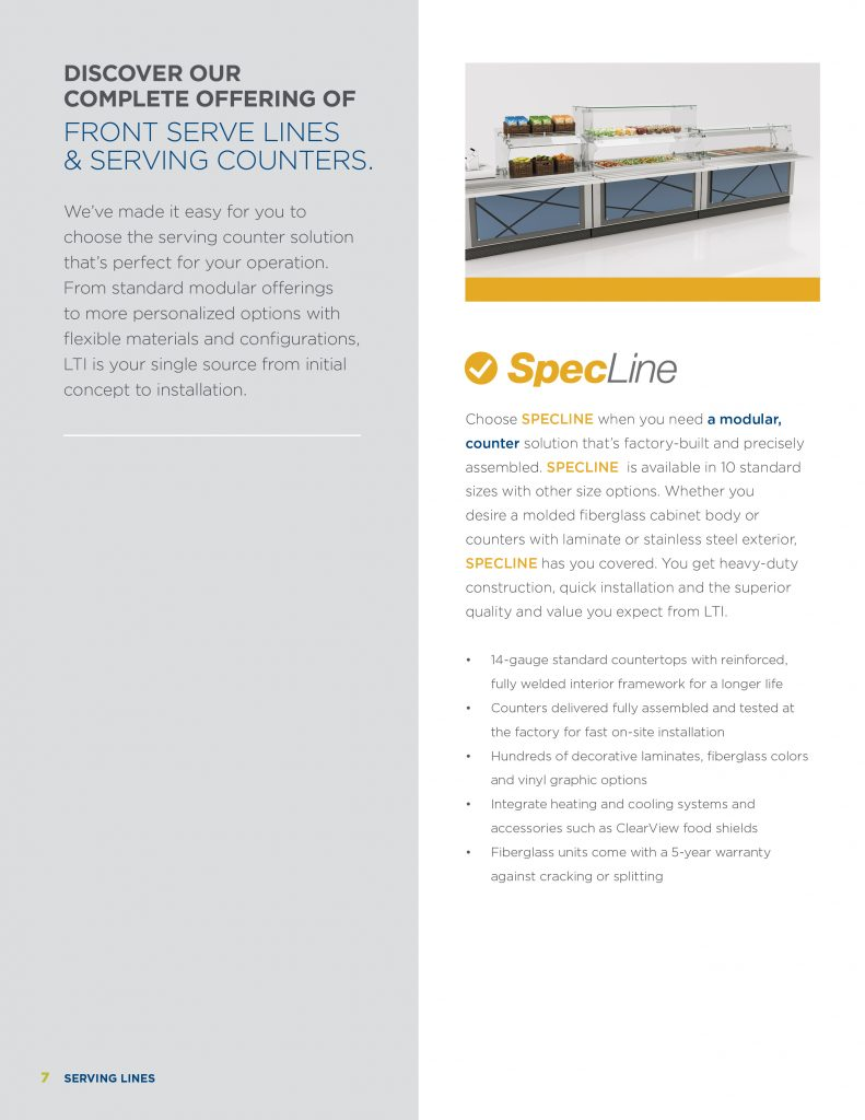 Foodservice Equipment Brochures | LTI, Inc