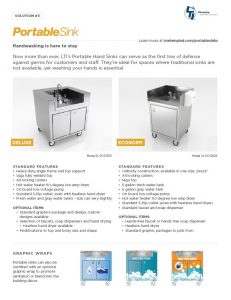 portable sink spec sheet tn